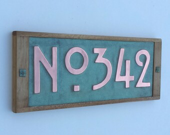"""House plaque in Mission Mackintosh Style ,3""""/75 or 4""""/100mm high numbers,  copper with oak frame, 3 x numbers with 'No' prefix g"""