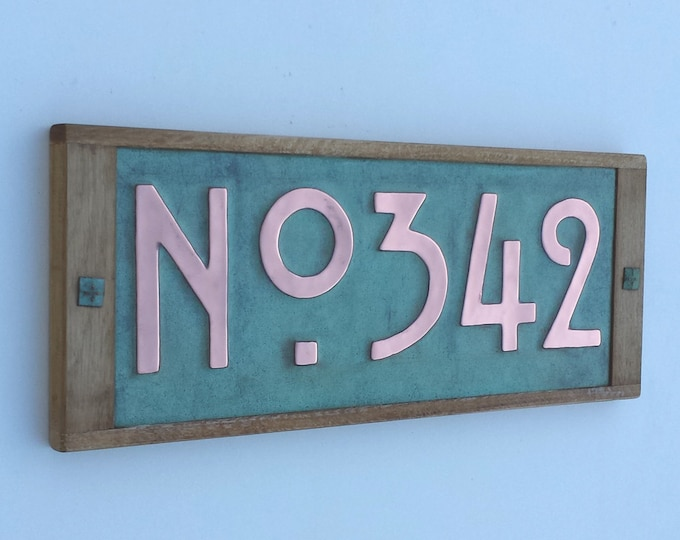"House plaque in Mission Mackintosh Style ,3""/75 or 4""/100mm high numbers,  copper with oak frame, 3 x numbers with 'No' prefix g"