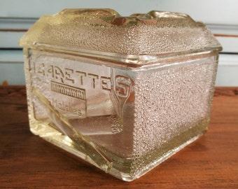 Rare, Vintage Glass All in One Cigarette Box Ashtray And Matchstrike. Rare Vintage Glass Cigarette Box, Glass Match Strike, Glass Ashtray