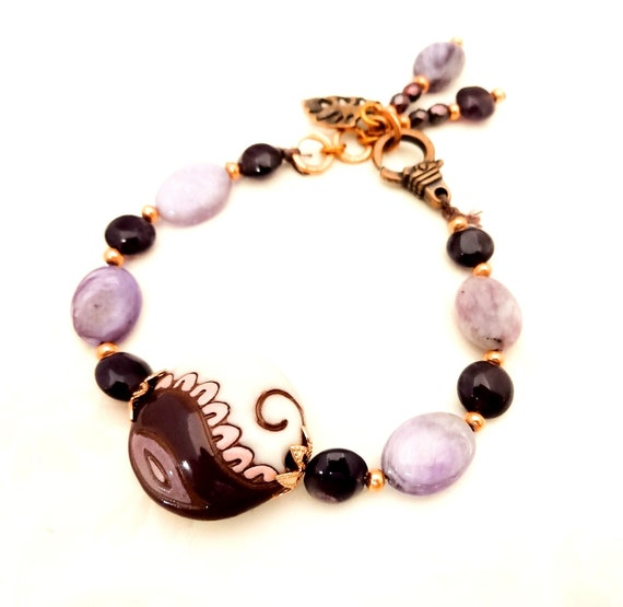 Boho Rustic Golem Studio Ceramic, Amethyst, Charoite and Copper Bracelet