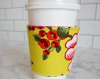 Reusable Coffee Sleeve-Japanese Garden Floral Print