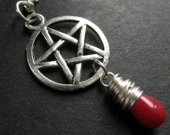 Pagan Necklace. Red Coral Necklace. Teardrop Necklace. Silver Pentagram Necklace. Handmade Jewelry.