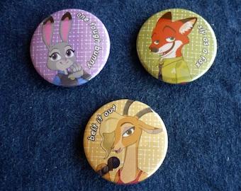 Zootopia Button Set