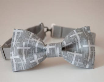 Cross Bow tie, Faith Cross Bow tie, religious bow tie, baptism bow tie, mens bow tie, boys bow tie, grey white bow tie, gift for him