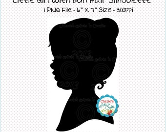Little Girl With Bun Hairstyle Silhouette, Digital Scrapbooking Elements, Clip Art, PNG Graphics, Digital Images, Digital Download Clip Art