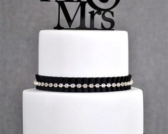 Mr & Mrs Wedding Acrylic Cake Topper Available in many Colors