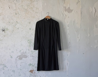 Vintage Black Dress 70s 1970s Minimalist Dress - Small Medium