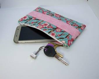 Floral gathered clutch purse wristlet with divider pocket and card holders