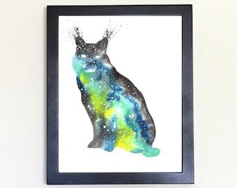 Bobcat Art Print, Galaxy Spirit Animal Watercolor 8x10