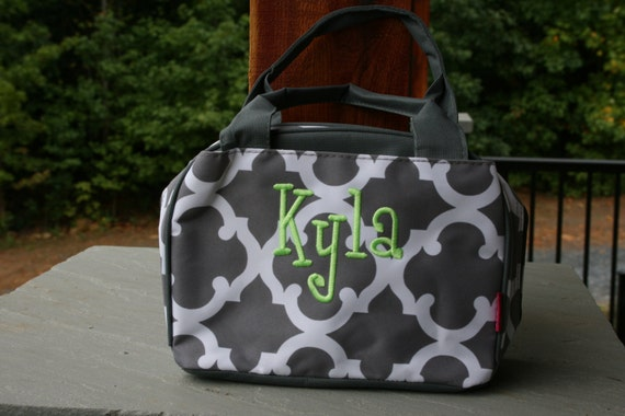 monogrammed girls lunch bag gray quatrefoil girls personalized