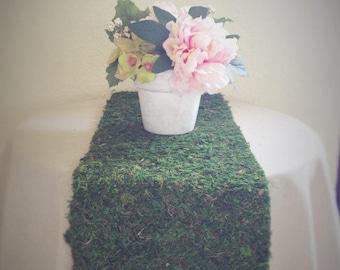 Custom natural preserved moss table runner, custom width and length, farmhouse table runner, custom moss aisle runner, moss wedding decor