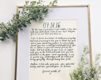 Modern Calligraphy Vows | Custom Lettered Wedding Vows | Personalized Vows | Wedding Vow Decor | Anniversary Gift