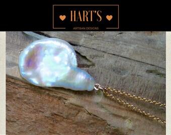Jumbo Biwa Pearl 14K Gold Pendant Necklace