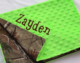Baby Boy Blanket Real Tree Camo Camoflauge with Lime Green Minky Dot, Personalized Custom Embroidery Monogramming
