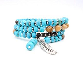Turquoise bracelet, turquoise wrap bracelet, memory wire bracelet, Native American bracelet, Native American jewelry, gemstone bracelet