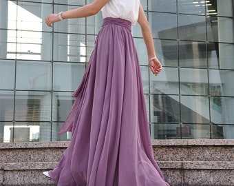 Plus Size Maxi Skirt Chiffon Silk Skirts Beautiful Bow Tie Green Elastic Waist Summer Skirt Floor Length Long Skirt (037),# 70
