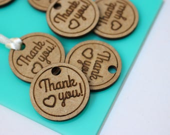 50 Wooden Thank You Tags, Engraved Custom Tag, Engraved Thank You Tag, Packaging Wrapping Ideas Tags