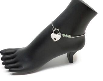 BDSM Locking Anklet, Prehnite Locking Slave anklet, Green Slave Anklet, BDSM Anklet Heart Lock, BDSM Jewelry, Gemstone Delicate Anklet