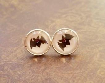 20% OFF -Black and white bat Halloween Cabochon Stud earrings,Earring Post,Gift Idea