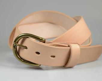 Handmade Daniel belt in Wickett and Craig Natural Veg Tan