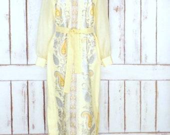 Alfred Shaheen 1960s vintage yellow/metallic gold/silver paisley hostess maxi dress
