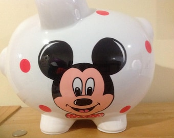 Personalized Large  Piggy  Bank  Disney Mickey Mouse Polka Dots-Newborns , Boys , Girls , Baby Shower Gift Centerpiece