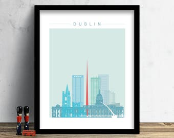 Dublin Skyline, Print, Watercolor Print, Wall Art, Watercolor Art, City Poster, Cityscape, Home Decor, Christmas Gift PRINT #Winter Theme