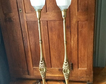 Set of Two Mid Century Rembrandt  Brass Filigree Lamps Torchiere Lamps,Mid Century Modern,Pair of Lamps
