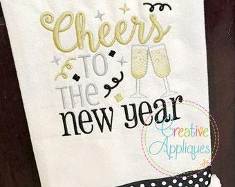 Cheers to the New Year Digital Machine Embroidery Design 3 Sizes, New Year embroidery, cheers embroidery, new years embroidery
