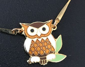 Vintage child's enamel owl necklace