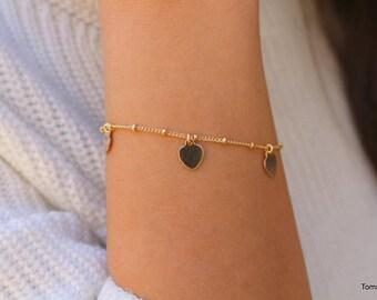 Tiny Dangle Heart Bracelet, Love Bracelet, Dainty Charm Bracelet, Heart Charm Bracelet, Initial Heart Bracelet, Valentine's Day gift for her