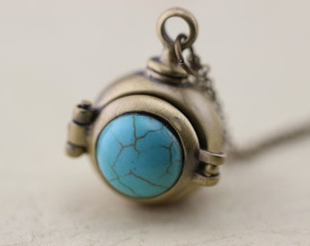 Turquoise Locket Necklace Christmas Gifts -107-