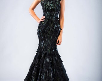 Raven Queen Black Iridescent Feather Couture Mermaid Gothic Wedding Gown