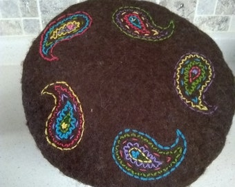 Hand Felted Beret-Child or XS Women's-Chocolate Paisley-unlined