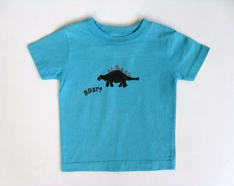 Boys Dinosaur Shirt, Dino Theme Birthday Party,  Short Sleeve Cotton T Shirt, Hand Painted for Baby or Toddler
