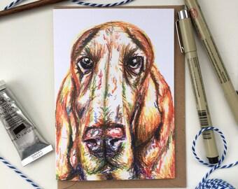 Bloodhound greeting card, Bassett hound card, Bloodhound dog, bloodhound love, bloodhound gift, bloodhound present, bloodhound art,