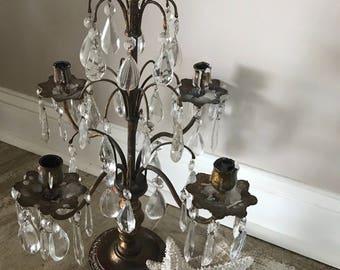 Antique Crystal Girandole, Candleabra, Table Chandelier