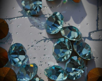 1100 35ss Genuine Swarovski Crystals Aquamarine Rounds Foiled Rhinestones 10pcs
