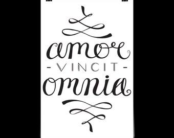 Love Conquers All - Amor Vincit Omnia - Latin Language Printable Instant Download - Latin