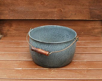 Vintage Enamelware Tub, Vintage Graniteware Pot, Enamel Basin, Graniteware Planter, Boiling Steamer Pot