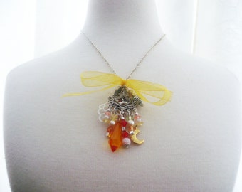 Necklace orange yellow jewels,macrame, teardrop crystal, beads,pendant, glass and pearls,chains, gift