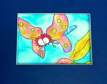 Diving Butterfly Original Watercolor Art,6x8,watercolor,original,wall art,funny,kid,child,sweet,face,butterfly,colorful,eyes,flower,floral
