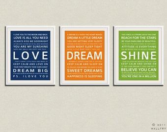 Children art print. Baby nursery art print. Typography art for kids. Nursery wall quotes. SET of 3 prints, love, dream, shine