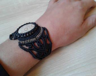 Fossilized coral set of macrame bracelet