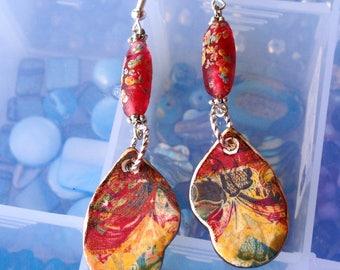 Viki~Vintage Earrings/Statement Earrings/Ladies Earrings/Boho Earrings/Artisan Earrings/Ceramic Earrings/Gypsy Earrings/1950's Bead Earrings