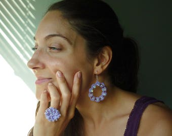 Set Earrings + Ring / Needle tatting Jewelry / Handmade frivolité / Custom to order / Elegant Pattern / Beads / macrame tatted jewellery