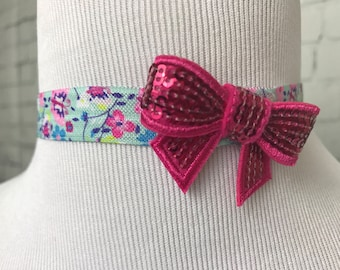 Pink Bow & Floral Girl Headband