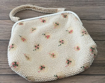 Vintage White Beaded Top Handle Purse