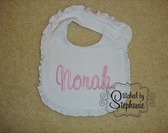 Custom embroidered personalized monogrammed pink name ruffle baby bib