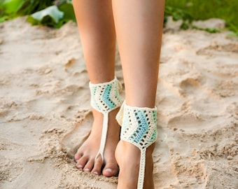Tribal Barefoot Sandals, Chevron stripe Mint and Ivory, Accessory, Foot jewelry, Hippie shoes, Yoga, Anklet, Steampunk, Buttoned, Adjustable